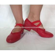 Балетки на каблуке красные