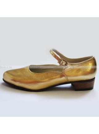 Туфли женские для народно-характерного танца золотые
