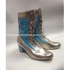 Сапоги для Снегурочки голубые с серебром