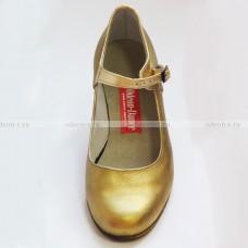 Туфли испанские с ремешком, золотые.