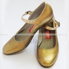 Испанские туфли с ремешком золотые