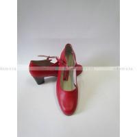 Испанские туфли с ремешком красные