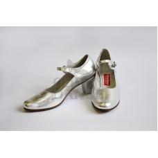 Испанские туфли с ремешком серебро